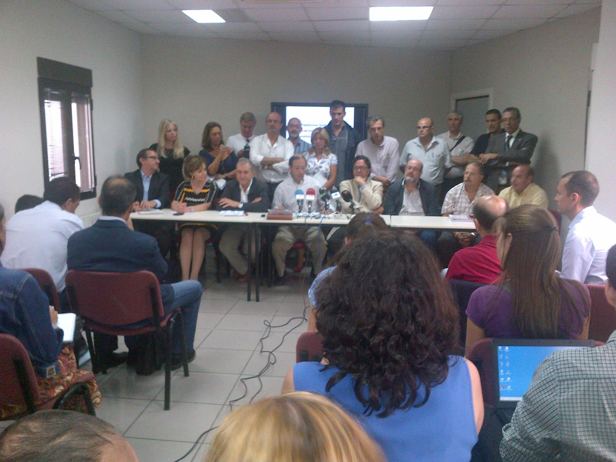 Rueda de prensa de la Plataforma Sindical anunciando nuevas movilizaciones contra los recortes (4 de septiembre de 2012)